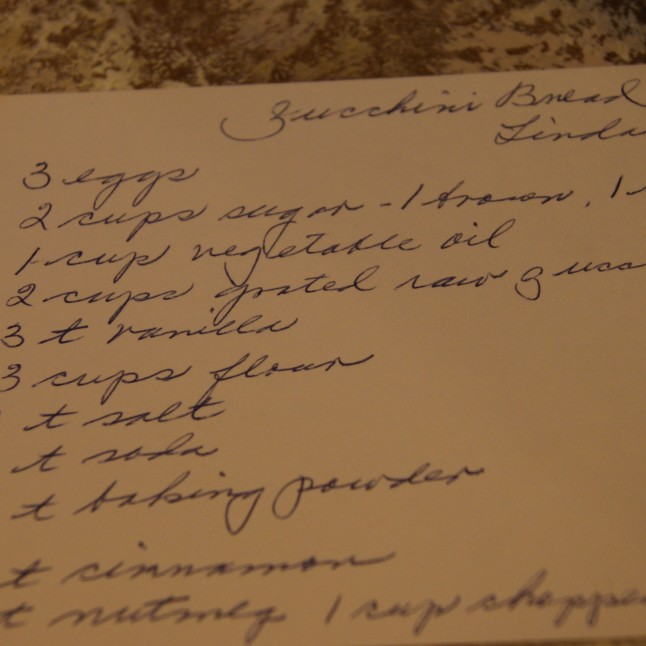 Zucchini Bread hand-written