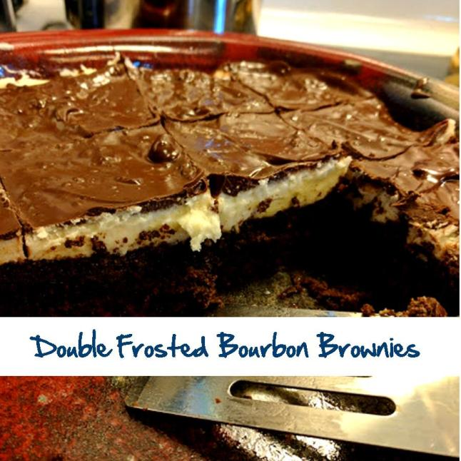 Double Frosted Bourbon Brownies