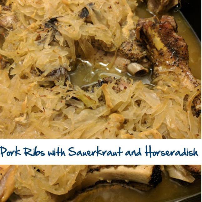 Pork Ribs with Sauerkraut and Horseradish