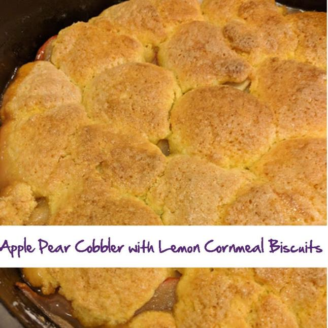 Apple Pear Cobbler with Lemon Cornmeal Biscuits