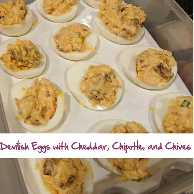 Devilish Eggs with Cheddar, Chipotle and Chives